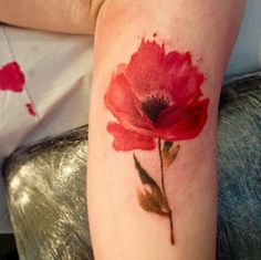 Watercolour poppy tattoo