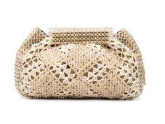 ODETE TOPÁZIO- Bolsa em crochet e cristal, com fecho magnético interno. #Bolsa #Clutches