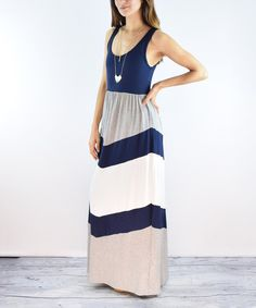 Look at this éloges Navy & Gray Chevron Maxi Dress on #zulily today!