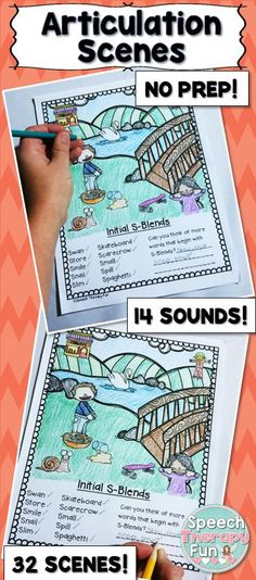 32 Articulation Scenes! Students can find the pictures in the scene, say them 5X and then color them!
