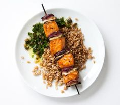 SALMON, FENNEL, AND ONION KEBAB WITH PARSLEY CAPER SAUCE OVER FARRO