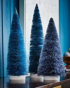 Set Of 3 Large Trees Blue