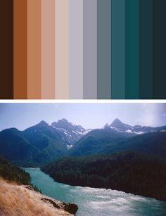 color palette - river between mountains dark blue, beige, orange, brown Colour Pallette, Color Palate, Colour Schemes, Color Combos, Color Patterns, Room Colors, Paint Colors, Colour Board, Vintage Design