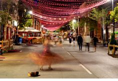 This is what intervention in the urban space should do. Be delightful, colourful and create curiosity. Landscape Architect Claude Cormier  transformed this street in Montreal into a pedestrian area for the summer.