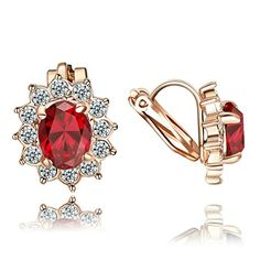 Yoursfs Trendy Clip on Earrings for Women 18k Gold Plated Use Elegent Gemstone Jewelry Red *** Check this awesome product by going to the link at the image.