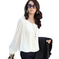 >> Click to Buy << New Women Summer Autumn Casual 2017 Chiffon Blouse Top Shirt blusas Solid loose sequins O-neck fashion Full Sleeve Plus Size #Affiliate
