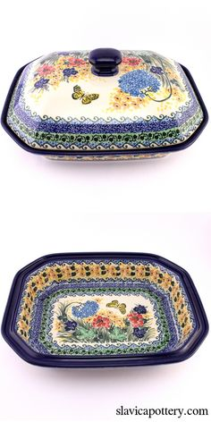 Spectacular baker with lid, love Polish pottery! See http://slavicapottery.com