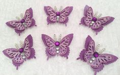 NOW ON SALE - Embellished Butterflies, Paper Embellies, Scrapbooking Supply, 3D Embellishments, Package Toppers, Bling Bugs, Paper and Party Supplies by CraftStuffDepot on Etsy
