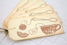 Tea Tags Tea Party Favor Tags Teatime Collage by seasonaldelights, $6.00
