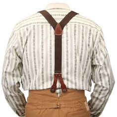 Steampunk Mens Brown Cotton Y-Back Braces Suspenders   Gothic   Pirate   LARP   Cosplay   Retro   Vampire    Stagecoach Y-Back Suspenders - Brown Canvas