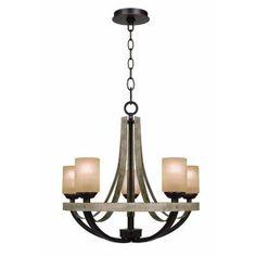 Hampton Bay Croft 5-Light Olive Stone Chandelier-27206 - The Home Depot $299.00 for entrance way