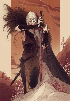 Commissioned gift - Elric of Melnibone Fantasy Rpg, Dark Fantasy Art, Medieval Fantasy, Character Concept, Character Art, Concept Art, Fantasy Inspiration, Character Design Inspiration, Mythological Creatures