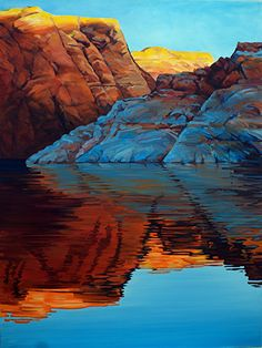 Ron Larson - Morning Fire Oil gallery wrap Lake Powell- Oil - Painting entry - October 2015 | BoldBrush Painting Competition