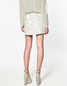 Leather paillette skirt with mint green sheer top and wedges  *Zara
