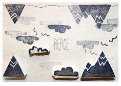 """Stempelset """"Berge"""" handgeschnitzt von halfbird auf DaWanda.com"""