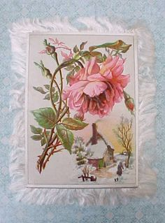 Beautiful Victorian Silk Fringed Two Sided Greeting Card