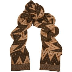 Missoni Metallic chevron-knit wool-blend scarf ($113) ❤ liked on Polyvore featuring accessories, scarves, brown, missoni, missoni scarves, metallic shawl, brown scarves and brown shawl