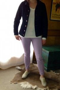 Sunday – Long sleeve white t-shirt, denim blazer, lavender skinny crop jeans, and gray oxfords