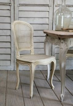 Set 6 Petite Vintage Louis XV Style Dining Chairs Cane Shabby White Paint