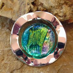 Dichroic Fused Glass in a Silver Setting Fused Glass by GlassCat, $35.00