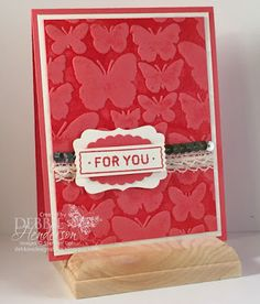 hand crafted card from Debbie's Designs ... monochromatic Watermelon Wonder ... luv how she pushed the inked embossing folder to a notch above by inking with Versamark and heat embossing ... Stampin' Up!