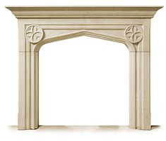 Carved Limestone Fireplace Mantel and Surround: The Tudor