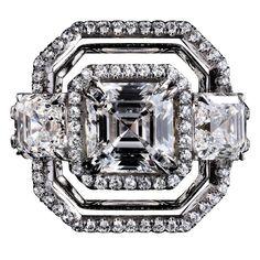 Three Asscher cut diamonds