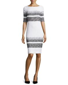 T9L0E Rickie Freeman for Teri Jon Half-Sleeve Striped Sheath Dress