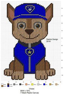 Chase from Paw Patrol Plastic Canvas Christmas, Plastic Canvas Crafts, Plastic Canvas Patterns, Cross Stitch Designs, Cross Stitch Patterns, Perler Bead Emoji, Bobble Crochet, Niklas, Small Canvas Paintings