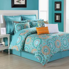 Your bedroom will come alive with this beautiful Fiesta Cozumel Reversible Comforter Set. The vibrant comforter set is decorated with bright fiesta colors of scarlet and turquoise and reverses to a turquoise print, adding a perky feel to your bed. Teal Bedding Sets, Queen Comforter Sets, King Comforter, Girl Bedding, Bedroom Turquoise, Teen Girl Bedrooms, Bed Sets, Cozumel, Home And Deco