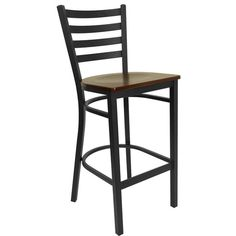 Flash Furniture Hercules Series Black Ladder Back Metal Restaurant Bar Stool with Mahogany Wood Seat XU-DG697BLAD-BAR-MAHW-GG