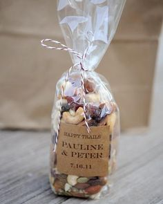 trail mix on the dinner tables for when the guests arrive at the reception hall from the wedding. After sitting through late afternoon weddings I am always starving by the time the reception comes, and the wait for food is so LONG! So give your guests a little snack!