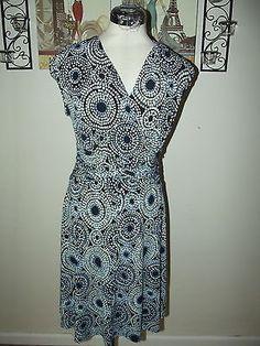 Evan Picone Navy Blue Circle Print Dress Size 10 ~ Stretch