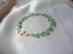 Emerald bracelet 7 1/8 inch 14k gold filled MLMR May by MLMR
