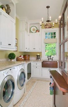 Laundry Room -check out the built in dog bed!!: