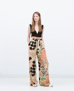 PRINTED LOOSE-FIT TROUSERS-View all-Trousers-WOMAN | ZARA United States