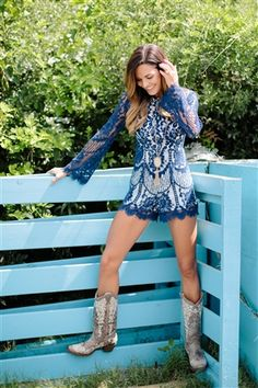 Lace be honest, our Take My Hand Romper is perfect for any special occasion like. It's a complete lace romper with long sleeves. Lined for coverage and fitted waist to give flattering look. Southern Outfits, Country Girls Outfits, Cowgirl Outfits, Cowgirl Boots, Cowgirl Dresses, Sexy Cowgirl, Cowgirl Style, Lace Dresses, Pretty Outfits