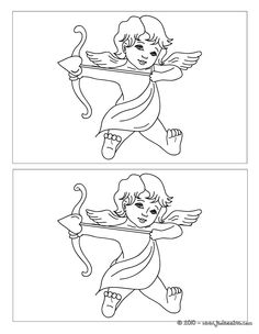 Jeux des 12 différences cupidon Coloring Sheets, Coloring Books, Coloring Pages, Dot To Dot Printables, Angel Drawing, Wedding Activities, Gift Suggestions, Wedding Crafts, Happy Day