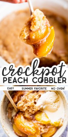 peach cobbler pound cake No need to switch on the oven for this Crockpot Peach Cobbler its cooked entirely in your slow cooker! So delicious with fresh summer peaches and an ea Peach Cobbler Slow Cooker, Fresh Peach Cobbler, Peach Cobbler Dump Cake, Fruit Cobbler, Cobbler Recipe, Crockpot Dessert Recipes, Crock Pot Desserts, Slow Cooker Desserts, Slow Cooker Recipes