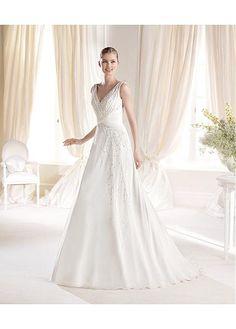 ELEGANT CHIFFON SATIN V-NECK NATURAL WAISTLINE A-LINE WEDDING DRESS SEXY LADY LACE FORMAL PROM BRIDESSMAID