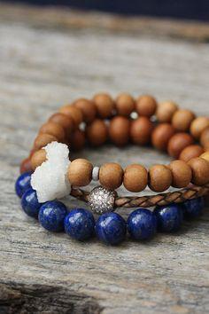Lapis Lazuli sandelhout armband / natuurlijke Lapis door byjodi