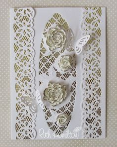 A bit of bling to brighten the day up :) This is similar in style to a couple of cards I made earlier with the Tonic Studios Entwining. Butterfly Cards, Flower Cards, Wedding Anniversary Cards, Wedding Cards, Tonic Cards, Tattered Lace Cards, Studio Cards, Heart Cards, Pretty Cards