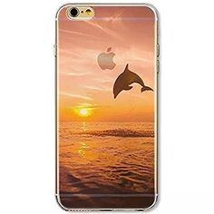 iPhone 6s ケース / iPhone 6 ケース 4.7 inches Vandot 0.5MM 超薄型ライトTPUシリコンバンパー  ハードPC半透明保護 バック ケース[落下防止] [衝撃吸収] 3D HD プリント風景シェル夕日とイルカ