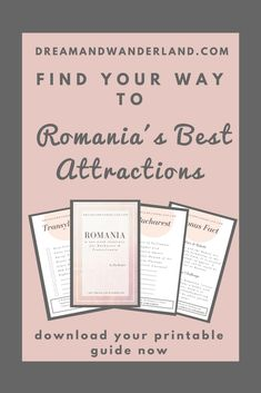 """Do you plan a trip to Romania and wonder what to visit and where to go? Grab this little printable PDF guide to Romania´s best attractions. Tick off your bucket list and keep your memories save on the """"Remember Me"""" section. Download now and get free travel inspirations straight to your Inbox! #romania #travel #guide #inspiration #free #attractions #thingstodo"""
