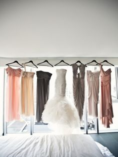 Closest in style of bridesmaid dresses but not color.  Long, flowy, chiffon in mismatched blue, gray and purple!