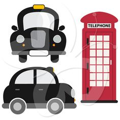 This digital clipart set comes with the following illustrations:    1 x side view taxi  1 x front view taxi  1 x phone booth    Each