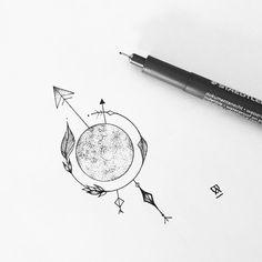 "3,901 Likes, 15 Comments - Eva.Svartur (@eva.svartur) on Instagram: ""Little moon for Charlotte #illustrator #illustration #design #sketch #draw #drawing #dotwork…"""