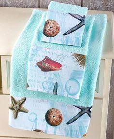 coastal 3 pc towel set cotton sea decor ocean beach bathroom decor seashells