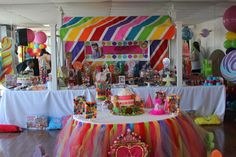 A Rainbow Colored Celebration http://www.babylifestyles.com/2011/07/a-rainbow-colored-candy-land-first-birthday-party/