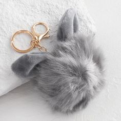 Rose Gold and Gray Faux Fur Bunny Keychain - $5.38.